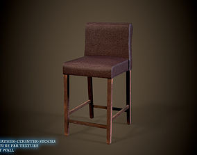 realtime Brown Leather Counter Stools Lowpoly 3D Model