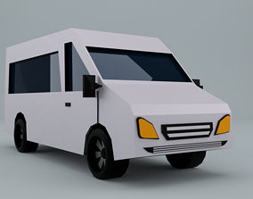 Low-Poly car prototype microbus game ready game-ready 2