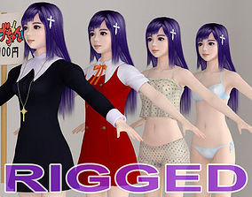 T pose rigged model of Zange with various outfit rigged