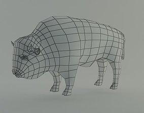 3D asset bison base mesh