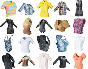 20 Tops and Dresses Fashion for Women Apparel 3D asset