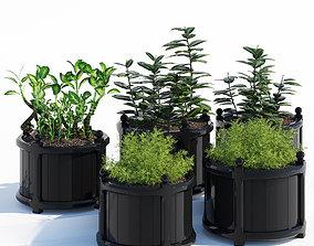3D model Round versailles planter in black