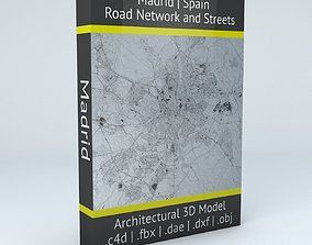 3D model Madrid Road Network and Streets spain