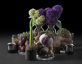 Jars with Vegetables and Flowers 3D model