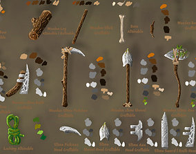 Craftable Primitive tools pack 3D asset