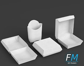 Fast food empty packages 3D model