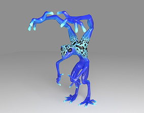 3D asset low poly four armed alien