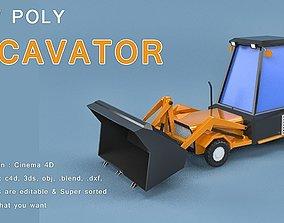 3D model Low Poly Excavator Loader