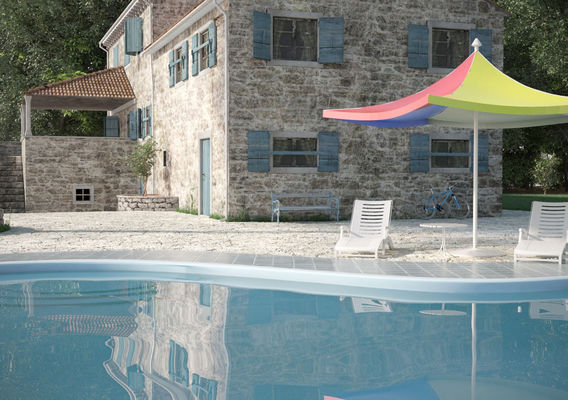 Croatian traditional stone house with pool scene