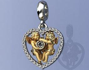 3D printable model cupid Pendant Charm Angels Heart