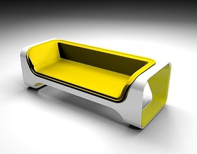3D Yelow sofa