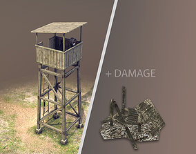 Observation Tower 01 with Damage 3D model