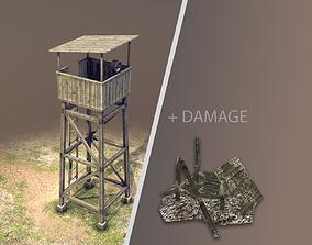 Observation Tower 01 with Damage 3D model