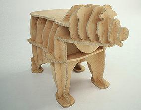 CNC cutting template for plywood bear bookshelf 3D model