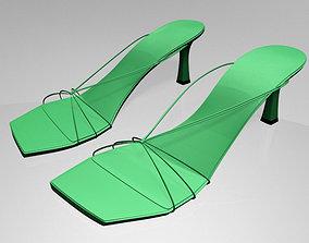 3D model cute Strappy Spool-Heel Sandals 01
