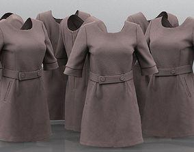 3D model Brown Belt Dress