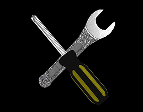 Crossed Wrenches 3D asset