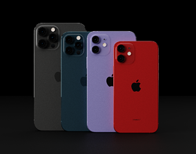 3D Apple iPhone 12 All Models in all Official Colors