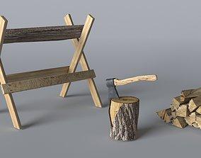 Wood Axe set 3D model