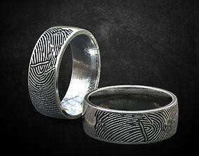 3D printable model Ring wedding with a fingerprint many 1