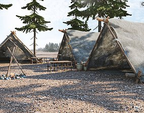 stone age camp 3D asset