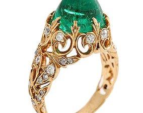 vintage ring for emerald cabochon 3D printable model