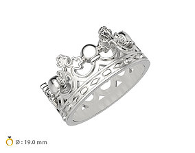3D print model N096 Crown man wedding ring gold