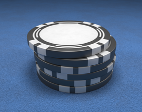 Casino Chip Black Poker Chip 3D