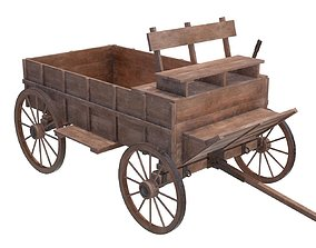 wagon wooden 3D