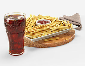 Cola with French fries Set 3D
