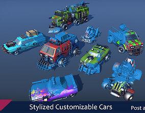 3D asset Stylized Customizable Cars post apo v3