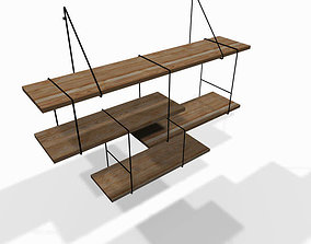 Designer wooden wall shelf 3D