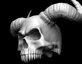3D print model Scull with horns bone