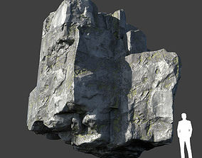 3D asset Low poly Layered Rock Mossy 09 190103