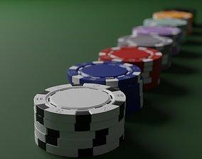 3D model game-ready Poker chips asset