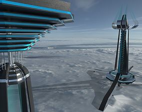 3D model SCI-FI Tower Building - PBR Game-Ready