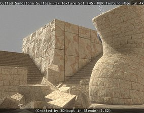 3D asset Cutted Sandstone Surface -1- Texture Set -45-