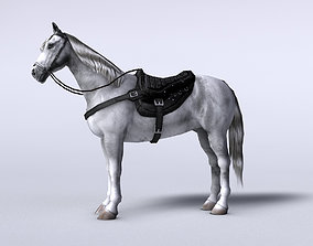 3D model low-poly White horse with saddle and bags