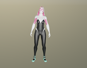3D model Gwen Stacy full rigged Animated Gameready