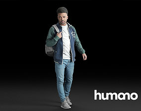 3D Humano Casual Black Man Walking with backpack 0215