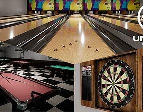 3D model UE4 - Bowling Pool and Darts - Pub Games Pack