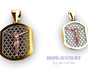 Cross pendant locket style 2 sizes 4 pcs 3D print model