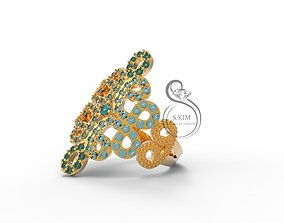 3D print model Ring pattern of gems brilliant tracery