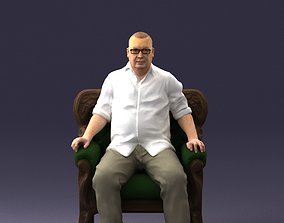 Elderly man sitting in a chair 0269 3D model