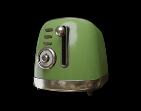 3D asset VR / AR ready Retro toaster