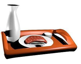 Salmon sushi set 3D asset