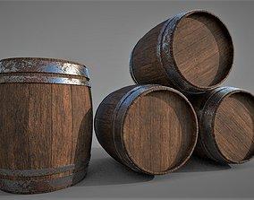 3D model game-ready models Wooden Barrel