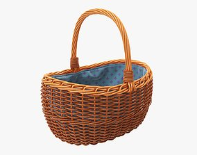 3D Empty wicker basket oval with handle