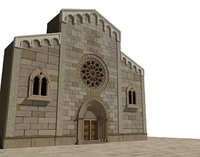 3D model Church medieval Facade