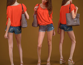 Girl Walking handbag and shorts 3D model
